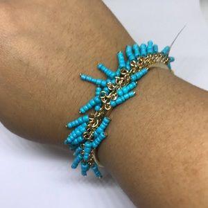 INC International Concepts Jewelry - INC Blue Beaded Gold Hinged bracelet [JW-40]
